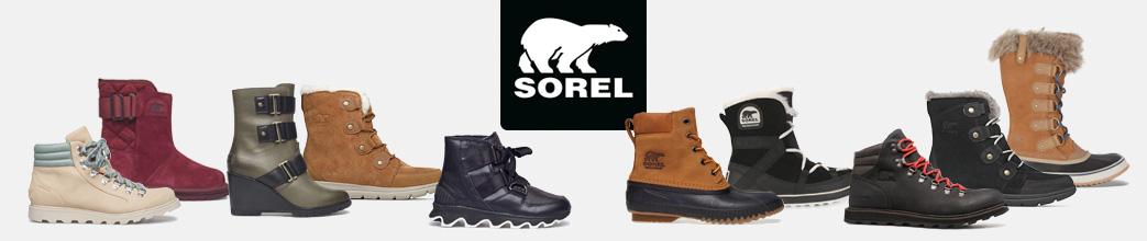 Sorte, brune og røde støvler fra Sorel til herre og dame.