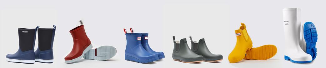 Blå, gule, grønne og hvide gummistøvler til herre og dame.