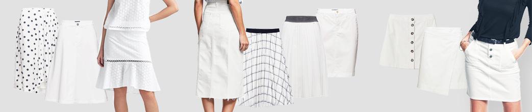 Kort og lang hvid nederdel, ensfarvet og med tern og prikker.