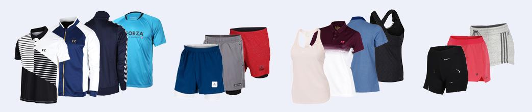 Badmintontøj til herre og dame. Fra Yonex, Forza og Nike. T-shirts, shorts og toppe.