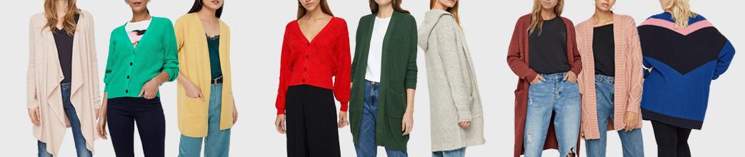 Lange og korte cardigans til damer i rød, grøn, hvid, blå, mm. I strik og bomuld.