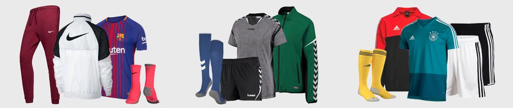 Fodboldtrøjer, shorts, bukser og strømper til fodbold.