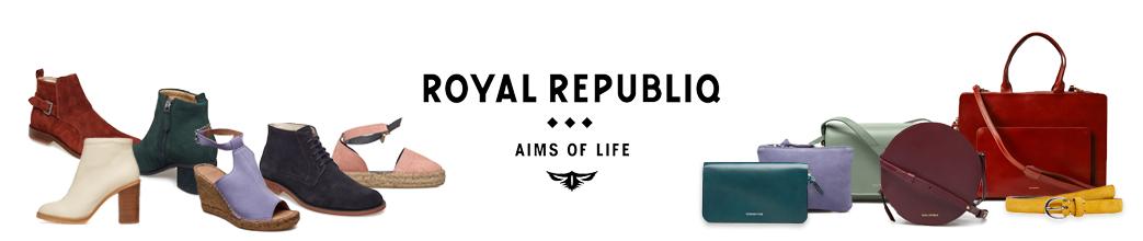 Støvler, sko og tasker fra Royal RepubliQ. Læder og ruskind. Bl.a. lilla, rød, gul og sort.