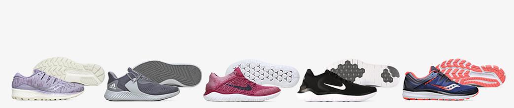 Lilla, grå, røde og sorte løbesko fra Nike og Adidas til herre og dame.