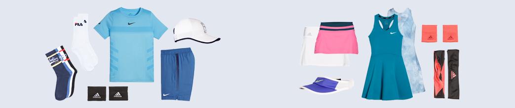 Tennistøj til herre og dame fra Nike, adidas, fila, mm.