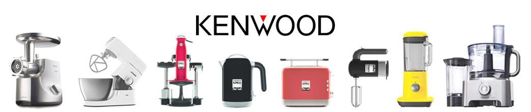 Kenwood logo og køkkenmaskiner, f.eks. kødhakker, røremaskine, brødrister, blender og håndmixer