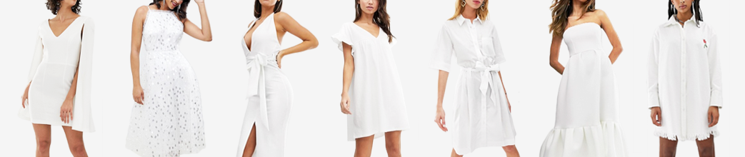 Hvide kjoler til hverdag og fest. Med stopper og ærmer, skjortekjole og stropløs.