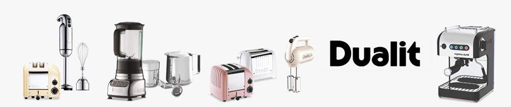 Køkkenelektronik fra Dualit: blender, stavblender, kaffemaskine, brødristere og andet.
