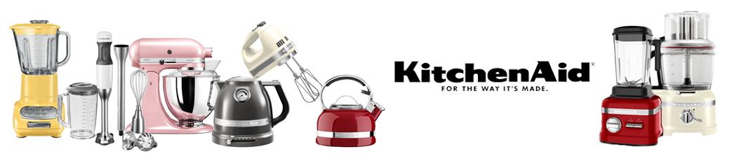 Køkkenmaskiner fra KitchenAid: blender, røremaskine, elkedel, stavblender og  håndmixer.