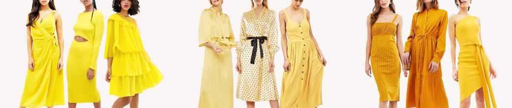 Lange og korte gule kjoler. Med og uden ærmer. Til hverdag og fest.