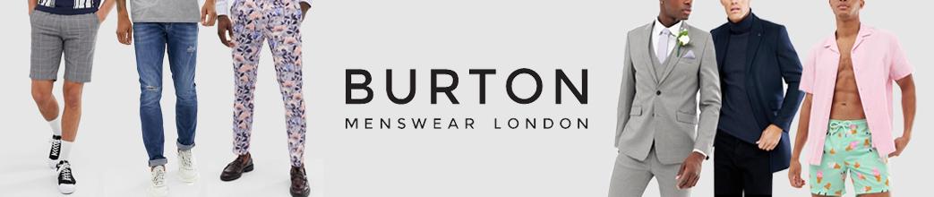 Burton Menswear London tøj. Shorts, bukser, jakkesæt og skjorte.