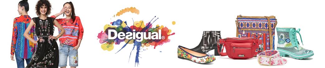Tøj, sko og accessories fra Desigual. Tasker, gummistøvler og kjole.
