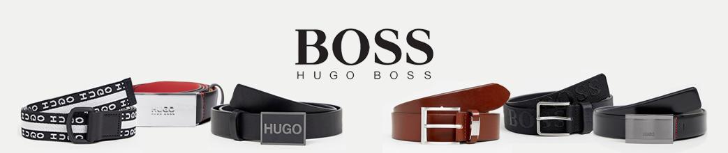 Hugo Boss bælter i sort, brun og hvid. Firkantede og traditionelle spænder.