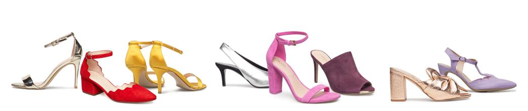 Festsko til kvinder. Høje hæle, stiletter og mange farver, såsom rød, sølv og lilla.