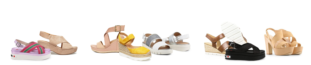 Plateau sandaler i beige og pangfarvet gul og grøn