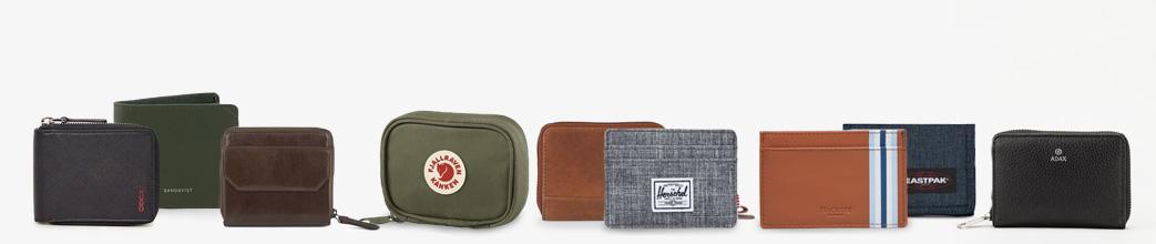 Moderne og klassiske punge til herrer. Læder og stof, sort, grøn, brun og grå.
