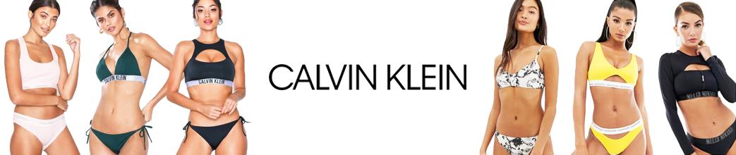 Fede og sporty bikinier fra Calvin Klein med halterneck, stropper og andet.