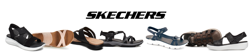 Skechers sandaler til herre og dame. Klipklap, velcro, mm. i sort, blå og lyserød.