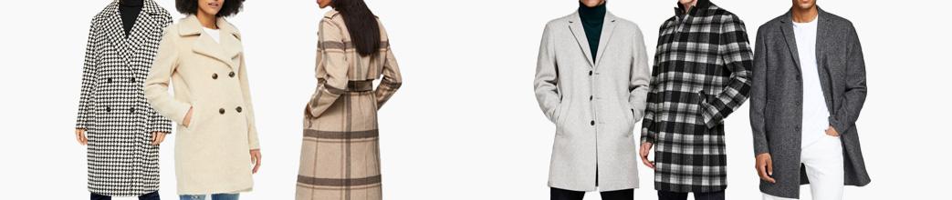 Lækre vinterfrakker til herre og dame. I uld og andre materialer. Ternet, beige og grå.