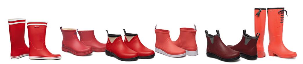 Røde gummistøvler til herre og dame. Langt og kort skaft, mange størrelser.
