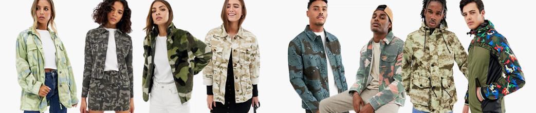 Fede camouflage jakker i militær stil til herre og dame. Grønne, blå, mm.