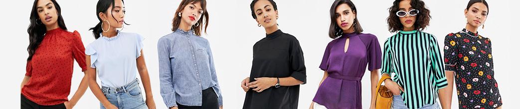 Højhalsede bluser i fede designs og print. Rød, blå, lilla, med prikker eller striber. Stort udvalg til damer.