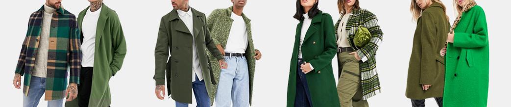 Grønne frakker til herre og dame. Lang, ternet, uld, m.m. Gode tilbud og mange størrelser.