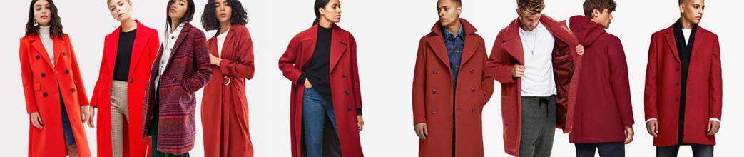 Flotte røde frakker til herre og dame. Lang og kort, uld og andet materiale. Gode tilbud.