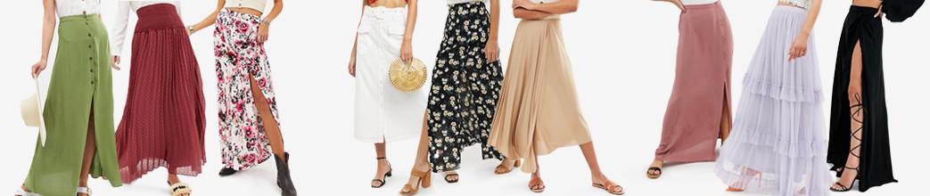 Flotte lange nederdele i grøn, rød, blomstret, hvid, lilla, mm. Stramme og løse i mange design og til gode priser.