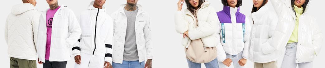 Hvide jakker til herre og damer. Hvide jakker til vinter, sommer, forår og efterår. Gode tilbud.