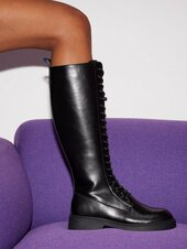 Duffy High Shaft Leather Lace Up Boots Knee-high