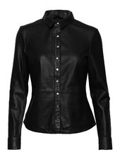 Shirt W/buttons Langærmet Skjorte Sort Depeche