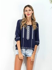 Casual Bluse Med Broderi