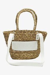 Small Beach Bag - Nature W. White Details - One Size Brun