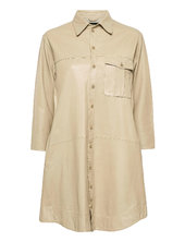 Chili Thin Leather Dress Kort Kjole Beige Mdk / Munderingskompagniet