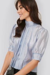 Na-kd Trend Structured Organza Gathered Blouse - Blue