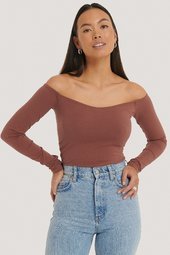 Na-kd Off Shoulder Jerseytop - Copper