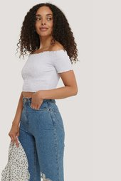 Na-kd Boho Off-shoulder-top Med Smock - White