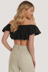 Na-kd Trend Off Shoulder Top Med Pufærmer - Black