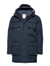 Arctic Canvas Parka Jacket - Grs/v Parka Jakke Blå Knowledge Cotton Apparel