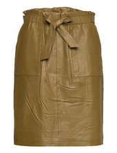 Mirabella Leather Skirt Knælang Nederdel Grøn Minus