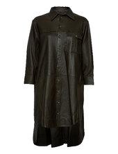 Chili Thin Leather Dress Knælang Kjole Grøn Mdk / Munderingskompagniet