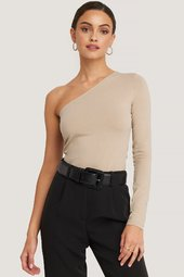 Na-kd One Shoulder Top - Beige