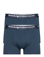 2 Pack Solid Colored Underwear With Boxershorts Blå Knowledge Cotton Apparel