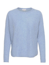 Curved Sweater Strikket Trøje Blå Davida Cashmere
