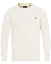 Gant Cotton Cable Crew Neck Pullover Creem