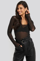 Na-kd Party Square Neck Mesh Body - Black