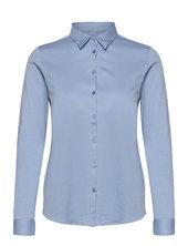 Tina Jersey Shirt Langærmet Skjorte Blå Mos Mosh