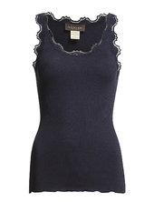 Silk Top Regular W/vintage Lace Top Ærmeløs Top Blå Rosemunde
