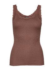 Silk Top Regular W/rev Vintage Lace Top Ærmeløs Top Brun Rosemunde